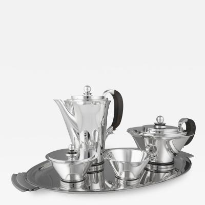 Georg Jensen A Georg Jensen Pyramid Tea Coffee Set 600 with Tray