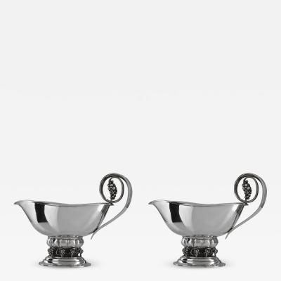 Georg Jensen A Pair of Extra Large Georg Jensen Sterling Silver Grape Design Sauce Boats 296