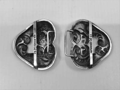 Georg Jensen Antique Georg Jensen Belt Buckle 10 With Garnets
