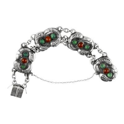 Georg Jensen Antique Georg Jensen Bracelet 1 Amber Green Agates