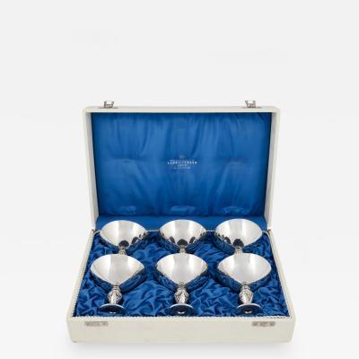 Georg Jensen Boxed Set of Georg Jensen Sterling Cactus Goblets 572A