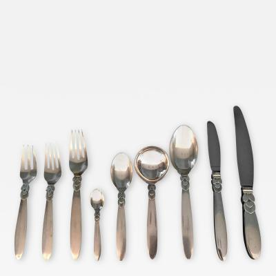Georg Jensen Cactus Silver Flatware an Extensive Set for Twelve by Georg Jensen