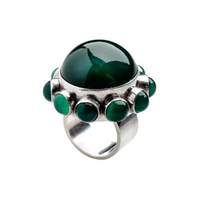 Georg Jensen Danish Modern Georg Jensen Ring No 166 with Green Agate by Astrid Fog