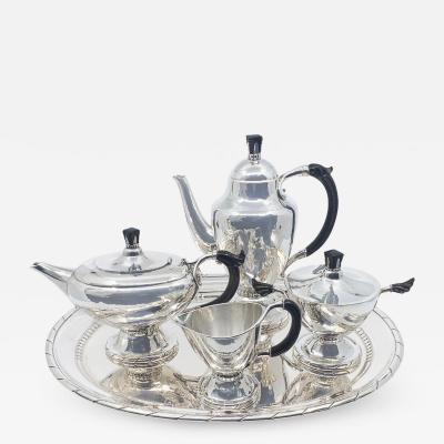 Georg Jensen Early Georg Jensen Silver Tea Coffee Service with Matching Tray 88