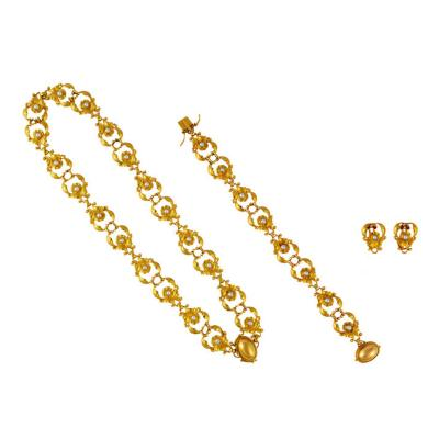 Georg Jensen GEORG JENSEN GOLD AND PEARL JEWELRY SUITE 172