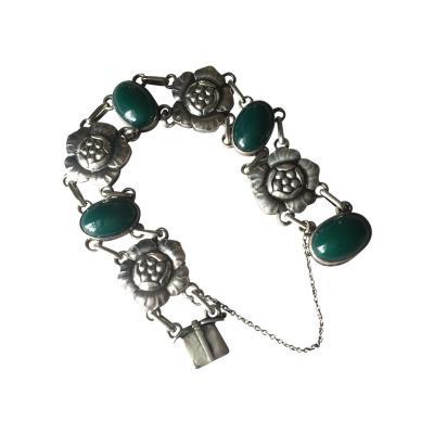 Georg Jensen Georg Jensen 830 Silver Blossom Bracelet No 12 with Green Chrysoprase
