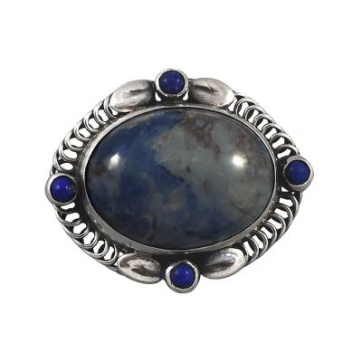 Georg Jensen Georg Jensen Brooch No 10 with Lapis and Sodacite