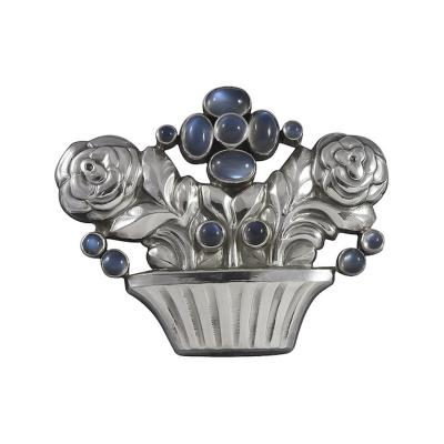 Georg Jensen Georg Jensen Flower Basket Brooch No 67 Silver with Moonstones