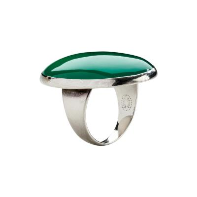 Georg Jensen Georg Jensen Modernist Sterling Silver Ring No 90B with Chrysoprase