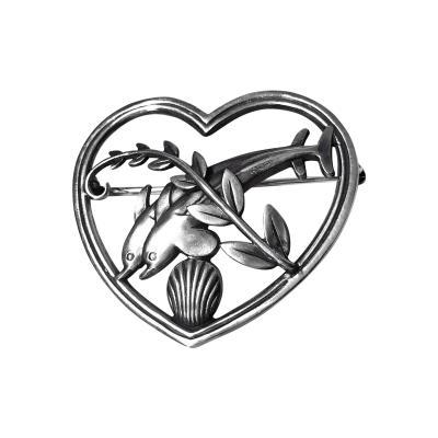 Georg Jensen Georg Jensen Sterling Silver Dolphin Heart Brooch C 1930