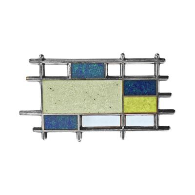 Georg Jensen Georg Jensen Sterling Silver Enamel Abstract Brooch Denmark C 1960