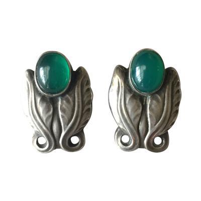 Georg Jensen Georg Jensen Sterling Silver Foliate Earrings No 108 with Green Chrysoprase