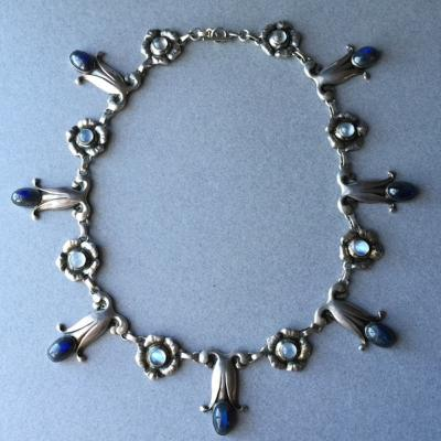 Georg Jensen Georg Jensen Sterling Silver Necklace No 7 with Labradorite and Moonstones