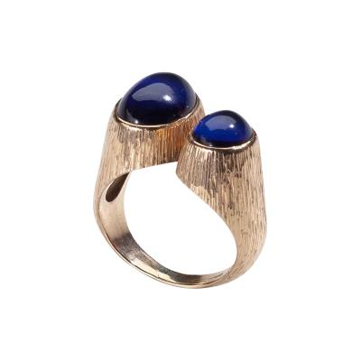 Georg Jensen Gold Ring No 867 with Synthetic Sapphire