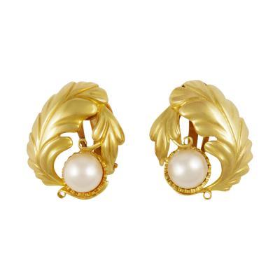 Georg Jensen Large Vintage Georg Jensen Gold Earrings 55 Pearls
