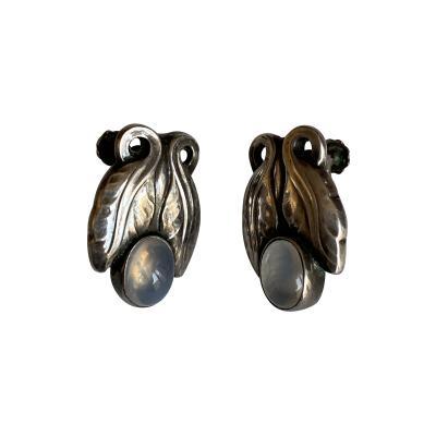 Georg Jensen Pair of Georg Jensen Sterling Earrings with Moonstone Design No 108