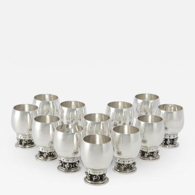 Georg Jensen Set of Twelve Vintage Georg Jensen Grapes Goblets 296B