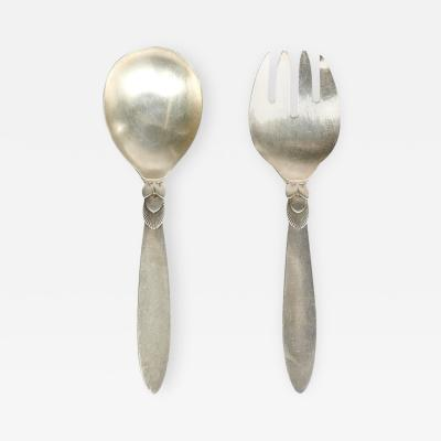 Georg Jensen Silver Salad Server Set in Cactus Pattern by Georg Jensen