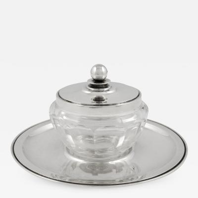 Georg Jensen Vintage Georg Jensen Pyramid Sugar Jam Jar and Plate 600A