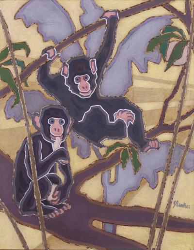 Georg Renker Georg Renker Monkeys Oil on Canvas German ca 1920