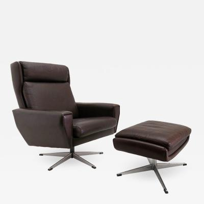 Georg Thams Danish Leather Lounge Chair with Ottoman