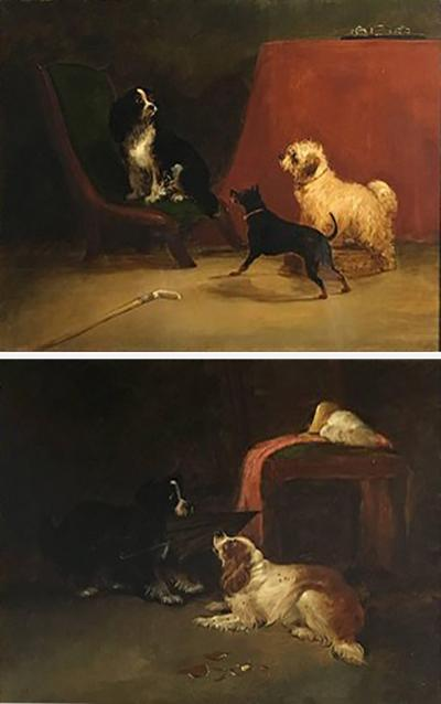George Armfield Pair of Dog Paintings Attributed to George Armfield 19th Century