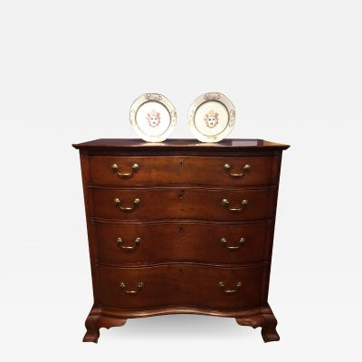 George Belden CHIPPENDALE FIGURED CHERRYWOOD BLOCKED OXBOW CHEST OF DRAWERS