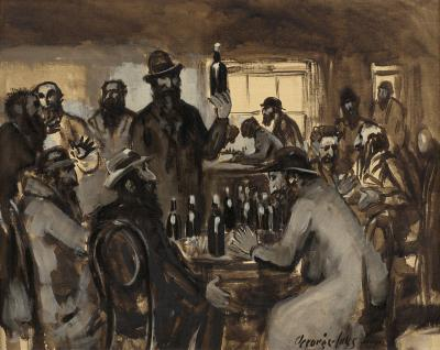 George Benjamin Luks Men at Sweeney s Near Houston Street