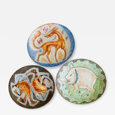 George Biddle Selection of Hand Painted Ceramic Plates by George Biddle