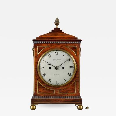 George Binns London A fine early 19th century small rosewood chamfer top bracket clock