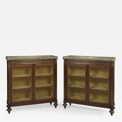 George Bullock A Pair of Regency Mahogany Dwarf Bookcases