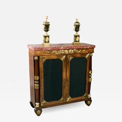 George Bullock Exceptional Pure Rosewood and Ormolu Mounted Cabinet with Original Marble T