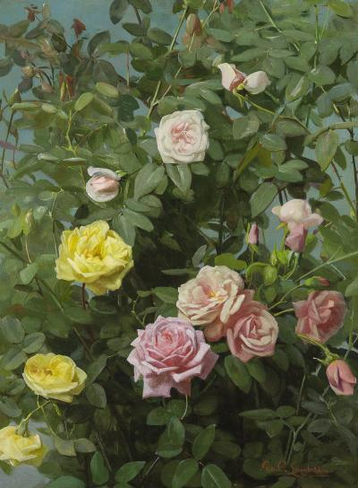George Cochran Lambdin Pink and Yellow Roses