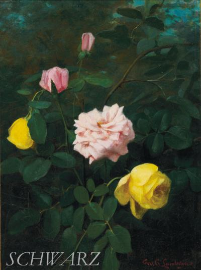 George Cochran Lambdin Yellow and Pink Roses