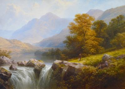 George Cole Langdale Westmorland Large 19th Century Exhibition Landscape Oil Painting