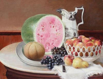 George Cope Still Life with Watermelon and Fruit circa 1916
