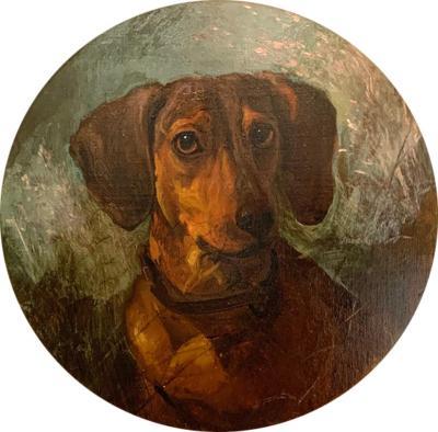 George Earl English Victorian portrait of a Dachshund dog or puppy