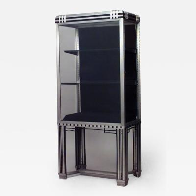 George Frye French Art Deco Steel and Glass Vitrine Display Cabinet with 2 Shelves