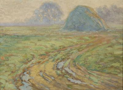 George Gustav Adomeit Landscape with Haystack on the Old John D Rockefeller Property Cleveland