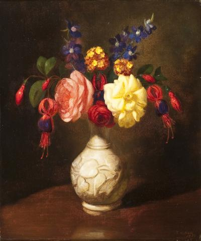George Henry Hall Still Life of Flowers in a White Vase
