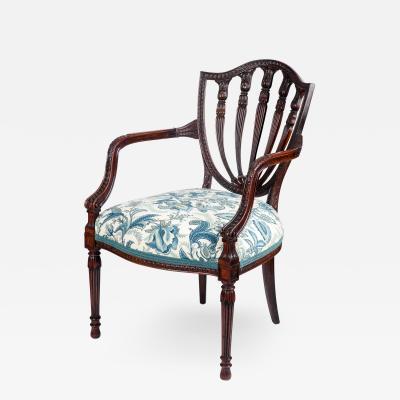 George Hepplewhite George III style armchair in the Hepplewhite manner