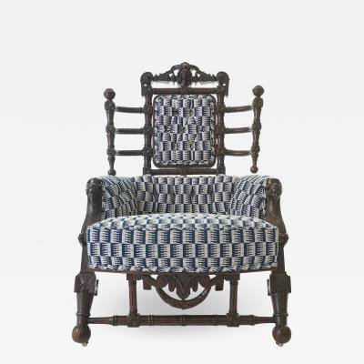 George Hunzinger Late 19th c Renaissance Revival Walnut Arm Chair by George Hunzinger