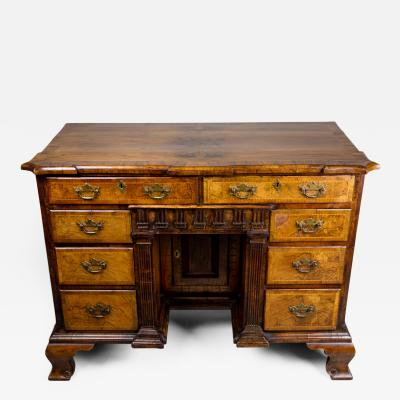 George I Style Walnut Architectural Formed Kneehole Desk 19th C