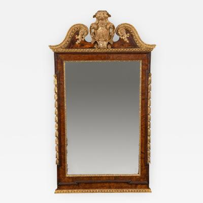 George II Burr Walnut and Parcel Gilt Mirror in the Kentian Style
