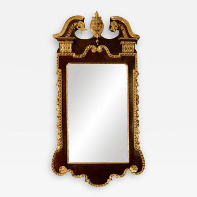 George II Walnut and Gilt Scroll Top Mirror