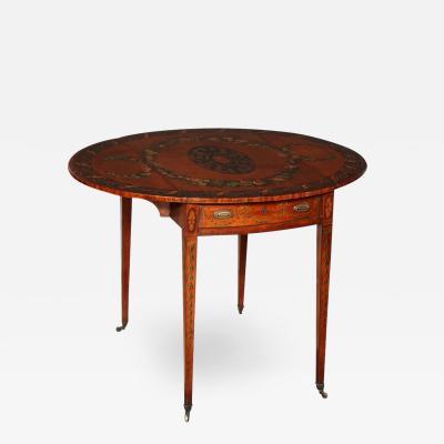 George III Adam Satinwood Paint Decorated Pembroke Table