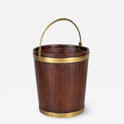 George III Brass Banded Mahogany Peat Bucket