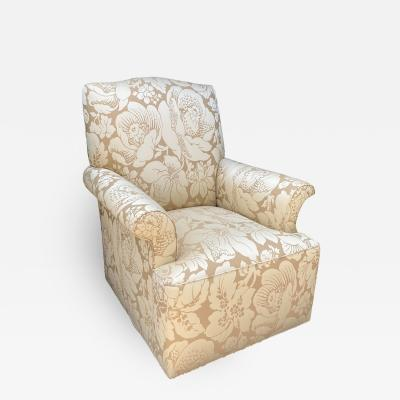 George III Designer Scalamandre Damask Swivel Club Chair