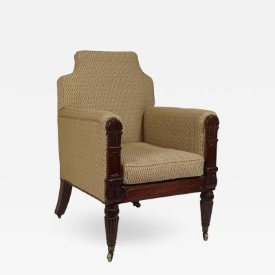 George III English Regency Mahogany Bergere
