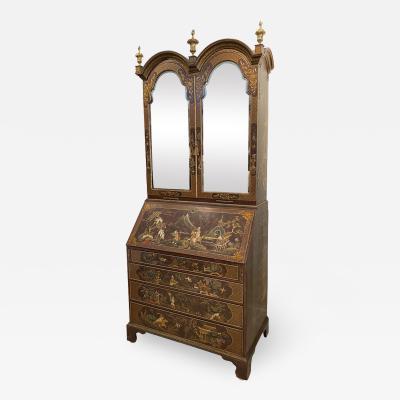 George III Japanned Slant Lid Bureau Bookcase